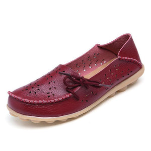 Ballet Summer Cut Out Women Genuine Leather Shoes - 64 Corp