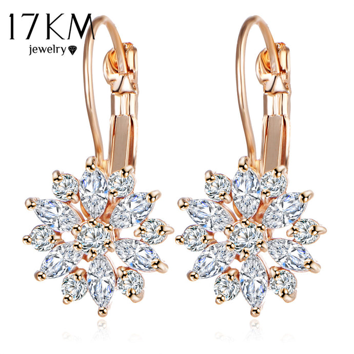 17KM Brand 3 Color Crystal Flower Stud Earrings For Women 2017 Bijoux Vintage Love Wedding Earring Statement Brinco Bijouterie - 64 Corp
