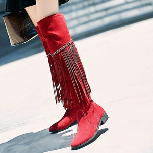 Knee High Boots With Fringes Cowgirl - 64 Corp