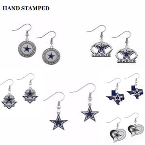 10Pairs Enamel Alloy Dallas Cowboys Earrings Fans Drop Women Jewelry Earring Sets 6Syles For Choose - 64 Corp