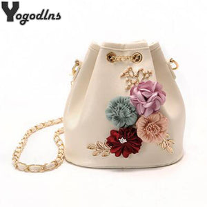 2018 New Fashion Trend Women Handbag PU Leather Bucket Shoulder Bag Chain Flowers Crossbody Bag Female Chic Hand Bags - 64 Corp