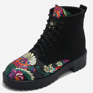 Spring Fashion Flower Embroidery Lace Up Ankle Boots - 64 Corp