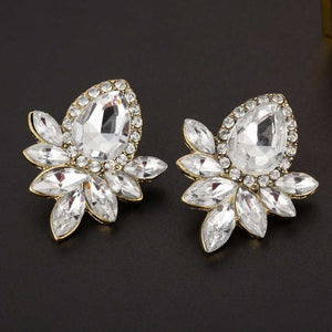 Fashion Earrings Rhinestone Gray/Pink - 64 Corp