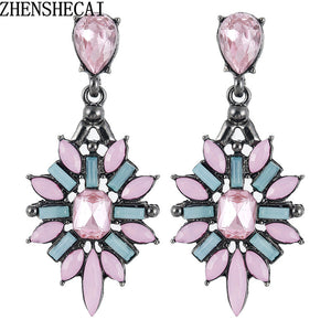2018 New Fashion Colorful Flower Big Luxury Drop Earring Pendant Crystal Gem Statement Earrings Jewelry Wholesale A28 - 64 Corp