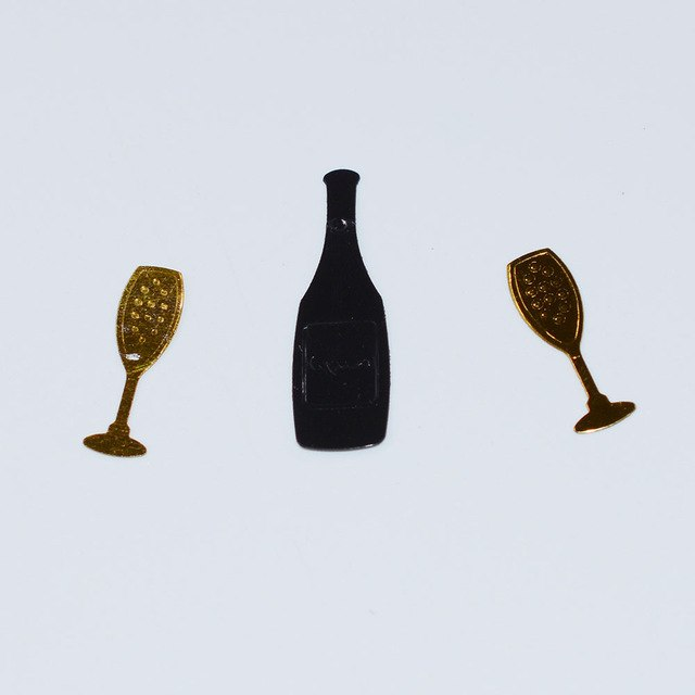 Cheers! Champagne Bottles & Glasses Confetti Sprinkles 15g Black Winebottle Gold Wine Glass Cup Wedding Party Table Scatters
