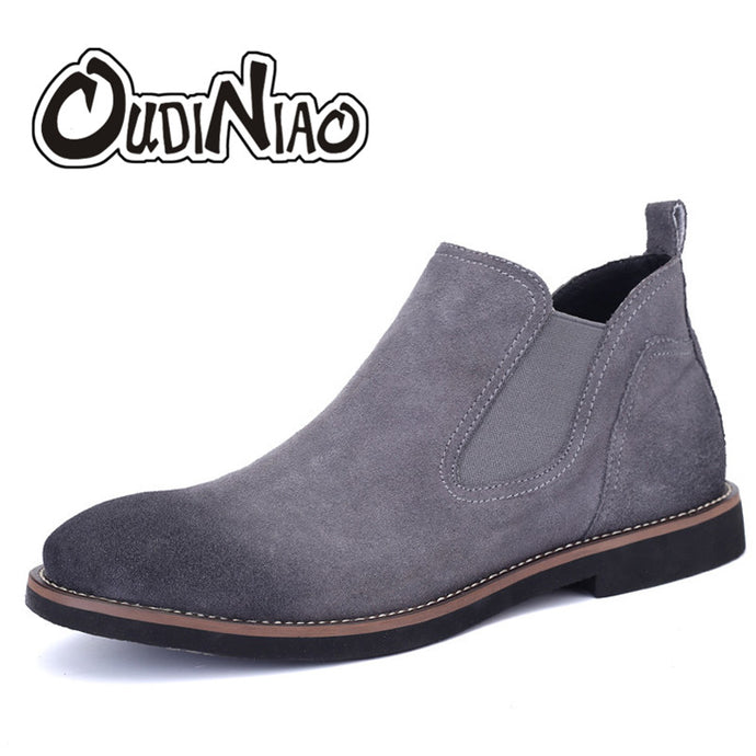 OUDINIAO Spring Fashion 2018 Chelsea Boots Men Slip On Cow Suede Cowboy Boots Mens Round Toe Split Leather Men Ankle Boots Black - 64 Corp