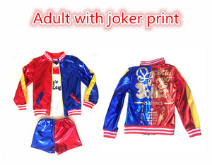 Girls Women Adult Suicide Squad Harley Quinn Cosplay Costumes Halloween Jacket Daddy's Lil Monster T Shirt Shorts costumes Sets