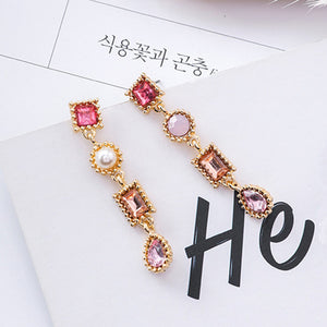 Luxury Multicolor Rhinestone Charm Pearl Long Earrings New Fashion Statement Drop Dangle Earring Jewelry For Women Pendientes - 64 Corp
