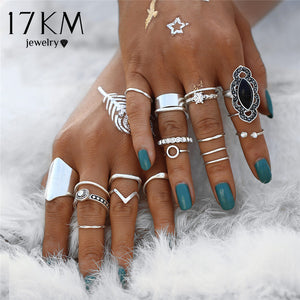 17KM Boho Vintage Black Stone Knuckle Ring Set For Women Anillos Crystal Heart Crown Midi Bohemian Rings Party Jewelry Gift - 64 Corp