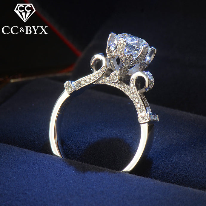 CC Jewelry Silver Rings For Women White Gold Color Fashion Jewelry Luxury Round Bride Wedding Engagement Chic Ring Jewelry CC582 - 64 Corp