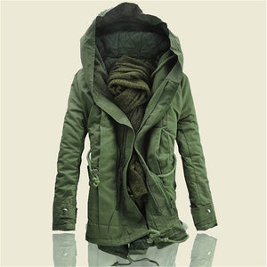 2017 Brand Fashion winter Parka for men Thick Warm zipper Jacket Autumn Outerwear hooded Black military Coat mens long jackets