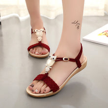 KUIDFAR 2018 Fashion Women Sandals Summer Gladiator Shoes Ladies Bohemia Shoes Woman Comfort Beach Shoes Flat Sandals Red - 64 Corp