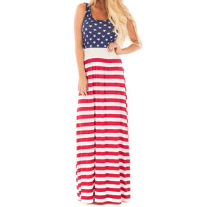 Women's Stars and Stripes Maxi Dress Sleeveless USA Independence Day Dress - 64 Corp