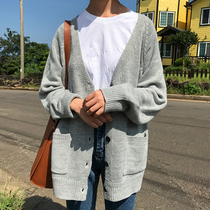 5 colors 2017 preppy style pocket V-neck button knitted sweater cardigans womens   (B0733) - 64 Corp
