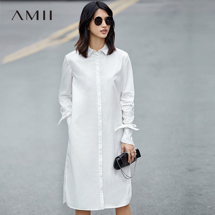 Amii Casual Minimalist Women Dress 2018 Solid Turn-down Collar Straps Long Sleeve Dresses - 64 Corp