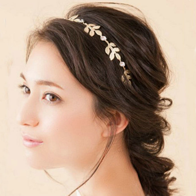 Wedding Hair Accessories Vintage Gold Color Leaf Headband Metal Leaves Hairband Tiara Headpiece Head Jewelry For Women Girls - 64 Corp