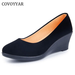COVOYYAR 2018 Wedge Women's Shoes Spring Autumn Flock Soft Women Pumps Slip On Casual Black Shoes Plus Size 40 WHH562 - 64 Corp