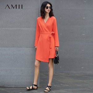 Amii Minimalist Casual Women Dress 2018 V-Neck Knee High Long Sleeve Solid Dresses - 64 Corp