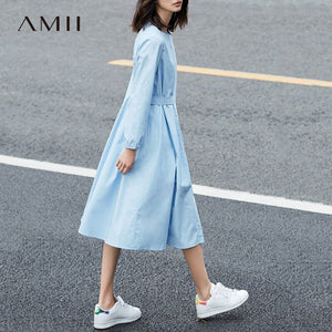 Amii Minimalist Casual Women Dress 2018 Solid O-Neck Puff Sleeve Drap Mid-Calf Dress - 64 Corp