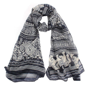 Womens Scarves Neck Stole Elephant Print Long Scarf - 64 Corp