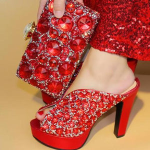 Fashion Women Wedges red Shoes And Bag Set - 64 Corp