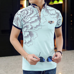 2018 New Men POLO Shirt Fashion Flower Print Polo Homme Slim Fit Short-sleeve Camisa Polo Men Summer Tops&Tees MT497 - 64 Corp