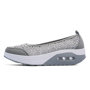 EOFK Summer Women Flat Platform Shoes Woman Casual Air Mesh Breathable Shoes Slip On Gray Fabric Shoes zapatos mujer - 64 Corp