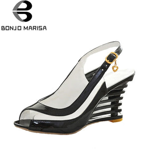 BONJOMARISA High Wedge Heel Sandals Buckle Open Toe Transparent Shoes Women's Summer Shoes Patent PU Sexy Summer Brand New Shoes - 64 Corp