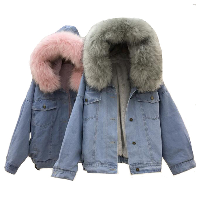Winter Women Jean Jacket Coat Faux Fur Collar Fleece Hooded Jacket - 64 Corp