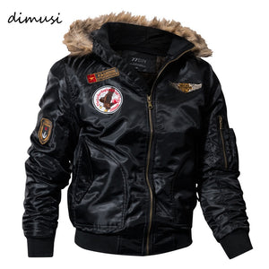 DIMUSI Paddad Men Winter Bomber Jacket Thick Thermal Down Cotton Parkas Male Casual Hoodies Faux Fur Collar Warm Coats 4XL,TA035