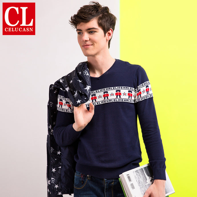Celucasn HALE LIFE 2018 Mens Sweaters Pullovers V Neck Striped England Soilders Graphic Preppy Style Fashion Shirts H6QI6377 - 64 Corp