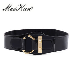 Cowskin Elastic Wide belts for Women Rocker Fashion Belt Gold Vintage Style Metal Rivet Belts For Dress Coat Cummerbund - 64 Corp
