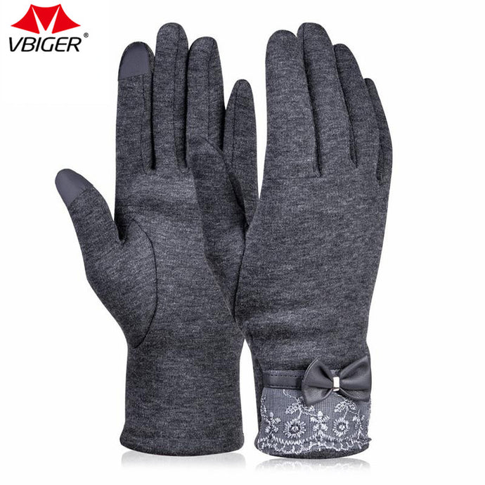 Vbiger Winter Gloves Windproof  Gloves Warm Cold Weather Gloves  Women'S  Flocking Touchscreen Warmer Lace Gloves - 64 Corp