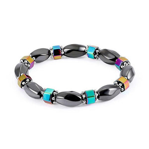 1Pc Weight Loss Round Black Stone Magnetic Therapy Bracelet Health Care Magnetic Hematite  Stretch Bracelet For Men Women - 64 Corp