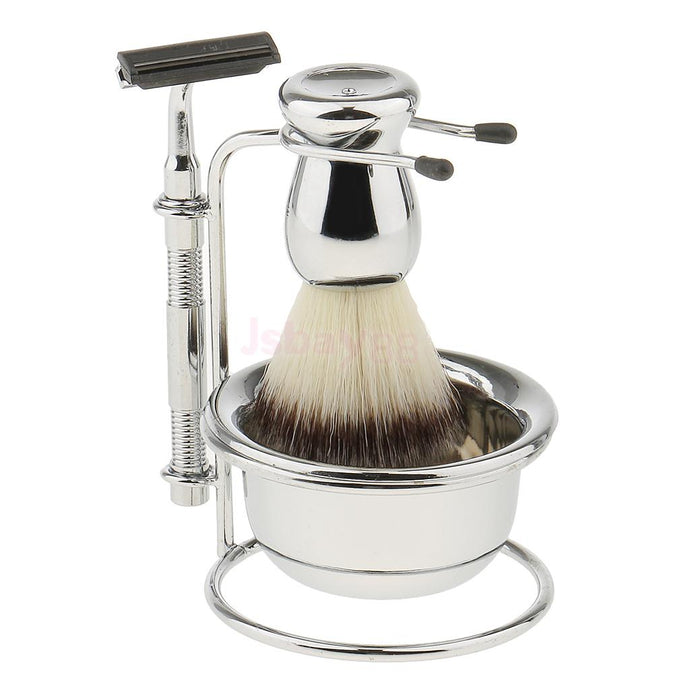Mens Beard Removal Grooming Set, Wet Shave Kit, includes Brush, Safety Razors, Bowl and Stand Holder - 64 Corp