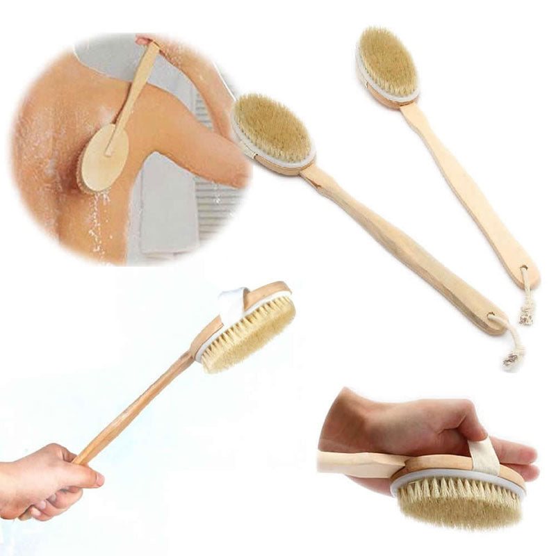 Natural Bristle Body Brush Long Handle Wooden Massage Brush Bath Body Scrubber Skin Cleaning Spa Shower Brush for Back - 64 Corp
