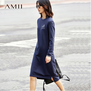 Amii Minimalist Casual Women Dress 2018 Print O Neck Long Sleeve Mid-Calf Dresses - 64 Corp