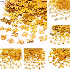 FENGRISE 30 40 50 60 Happy Birthday Confetti Decoration Gold Numbers Party Table Scatter Adult Birthday Party Balloons Decor