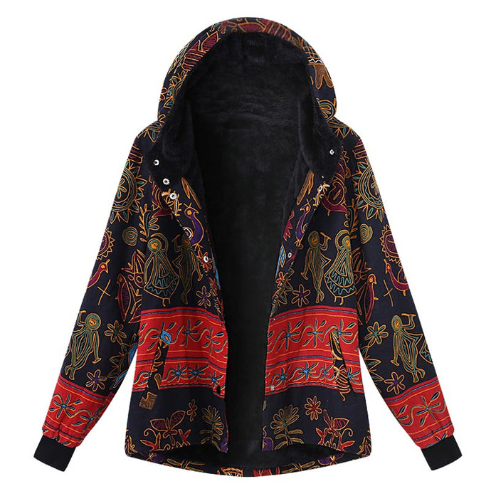 2018 Winter Celmia Vintage Women Hoodies Long Sleeve Buttons Down Jacket Boho Print Pockets Sweatshirt Coat Loose Fleece Outwear - 64 Corp
