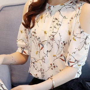 Chiffon Floral Shirt Female Tops - 64 Corp