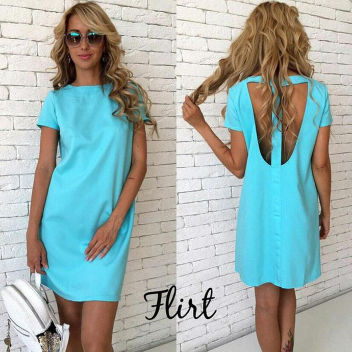 Women Summer Sexy Back Hollow Straight Dress - 64 Corp
