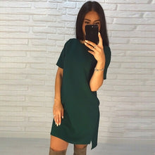 2018 New Women Beach Casual A-Line dress Vestidos Summer O-Neck Short Sleeve Green Black Parties Mini dresses Puls size - 64 Corp