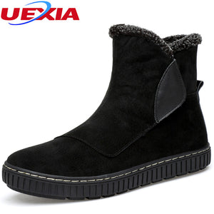 Winter Rubber sole Cowboy Ankle Snow Boots Men Luxury Cow Suede Leather Warm Plush&Fur Work Safety Footwear Antiskid Bottom Warm - 64 Corp