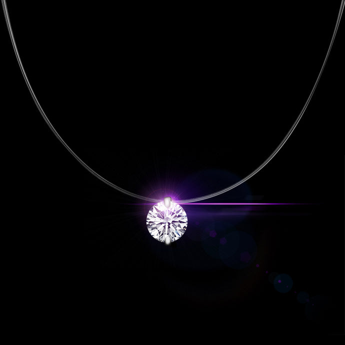 QCOOLJLY Silver Color Dazzling Zircon Necklace And Invisible Transparent Fishing Line Simple Pendant Necklace Jewelry For Women - 64 Corp