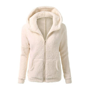 Women Solid Coloor Coat Thicken Soft Fleece Winter Autumn Warm Jacket Hooded Zipper Overcoat Female Fashion Casual Outwear - 64 Corp