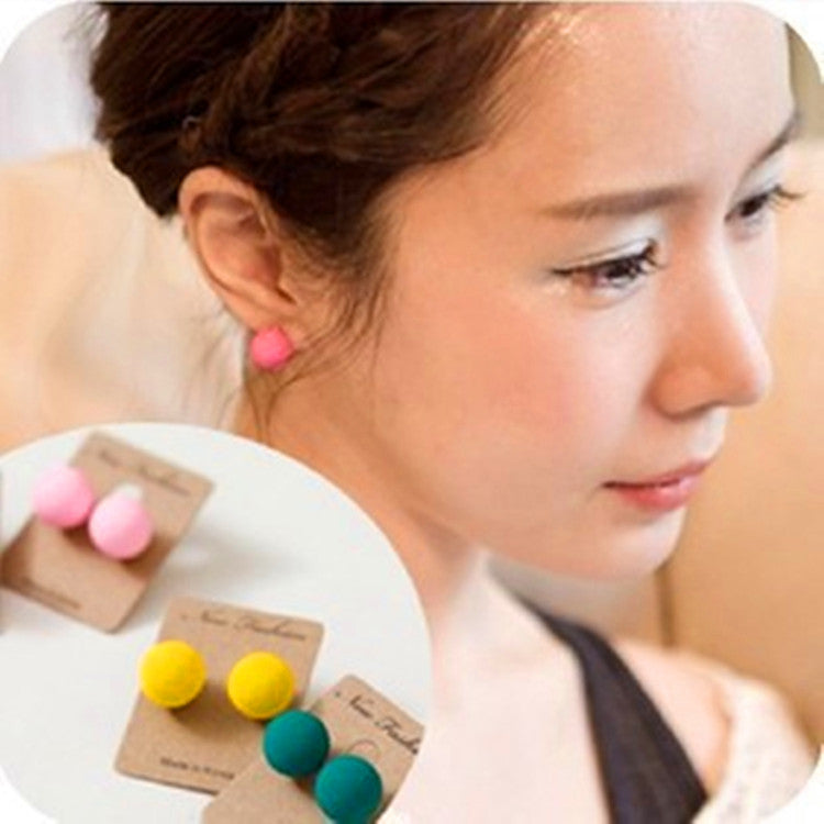 2016 Top Fashion Real Ball Trendy Brinco Earings Women Lady Charm Cute Chic Scrub Earrings Ear Studs Candy Colors - 64 Corp