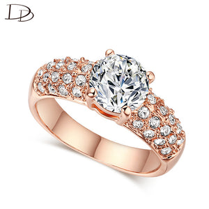 exquisite rose gold color rings for women chic aaa zircon jewelry wedding engagement jewellery bague anillos wholesale KR003 - 64 Corp