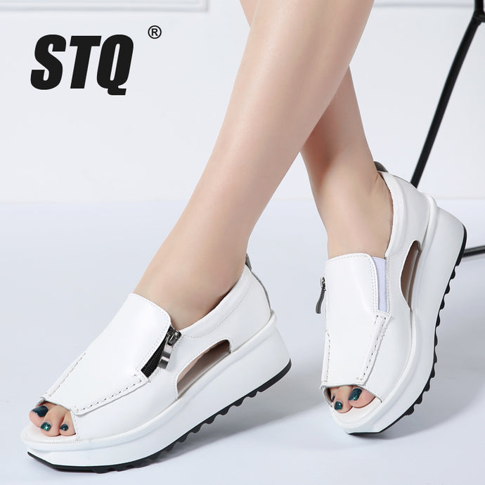 STQ 2018 Summer women sandals wedges sandals ladies open toe round toe zipper black silver white platform sandals shoes 8332 - 64 Corp
