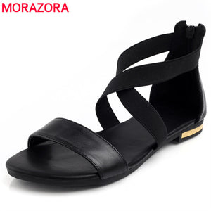 MORAZORA 2018 Genuine Leather Women Sandals Hot Sale Fashion Summer Sweet Women Flats Heel Sandals Ladies Shoes Black - 64 Corp