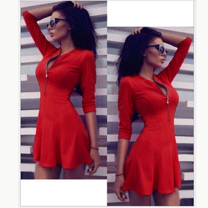 2018 New Spring Summer Women Sexy Straight Dresses Back Zipper Bodycon Dress Casual V-neck 3/4 Sleeve Sheath Pack Hip Vestidos - 64 Corp